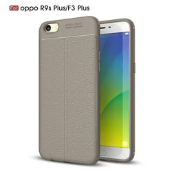 Luxury Auto Focus Litchi Texture Silicone TPU Back Cover for Oppo R9s Plus - Gray