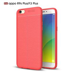 Luxury Auto Focus Litchi Texture Silicone TPU Back Cover for Oppo R9s Plus - Red