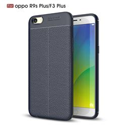 Luxury Auto Focus Litchi Texture Silicone TPU Back Cover for Oppo R9s Plus - Dark Blue