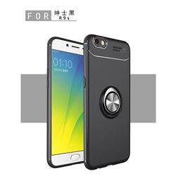 Auto Focus Invisible Ring Holder Soft Phone Case for Oppo R9s Plus - Black