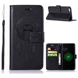 Intricate Embossing Owl Campanula Leather Wallet Case for Oppo R9s Plus - Black