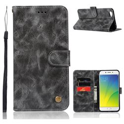 Luxury Retro Leather Wallet Case for Oppo R9s Plus - Gray
