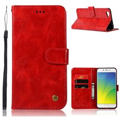 Luxury Retro Leather Wallet Case for Oppo R9s Plus - Red
