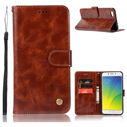 Luxury Retro Leather Wallet Case for Oppo R9s Plus - Brown