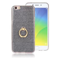 Luxury Soft TPU Glitter Back Ring Cover with 360 Rotate Finger Holder Buckle for Oppo R9s - Black
