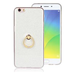 Luxury Soft TPU Glitter Back Ring Cover with 360 Rotate Finger Holder Buckle for Oppo R9s - White