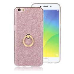 Luxury Soft TPU Glitter Back Ring Cover with 360 Rotate Finger Holder Buckle for Oppo R9s - Pink