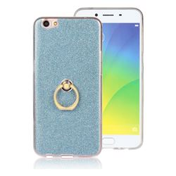 Luxury Soft TPU Glitter Back Ring Cover with 360 Rotate Finger Holder Buckle for Oppo R9s - Blue