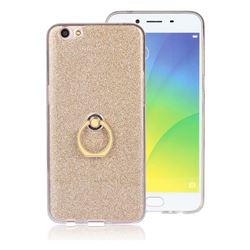 Luxury Soft TPU Glitter Back Ring Cover with 360 Rotate Finger Holder Buckle for Oppo R9s - Golden