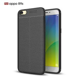Luxury Auto Focus Litchi Texture Silicone TPU Back Cover for Oppo R9s - Black