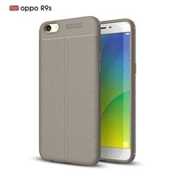 Luxury Auto Focus Litchi Texture Silicone TPU Back Cover for Oppo R9s - Gray