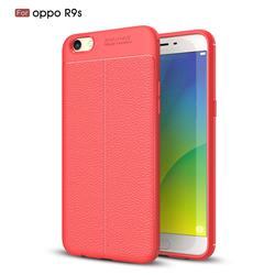 Luxury Auto Focus Litchi Texture Silicone TPU Back Cover for Oppo R9s - Red