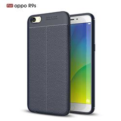 Luxury Auto Focus Litchi Texture Silicone TPU Back Cover for Oppo R9s - Dark Blue