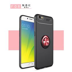 Auto Focus Invisible Ring Holder Soft Phone Case for Oppo R9s - Black Red