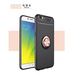 Auto Focus Invisible Ring Holder Soft Phone Case for Oppo R9s - Black Gold