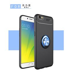 Auto Focus Invisible Ring Holder Soft Phone Case for Oppo R9s - Black Blue