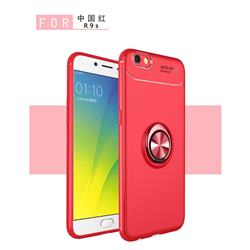 Auto Focus Invisible Ring Holder Soft Phone Case for Oppo R9s - Red