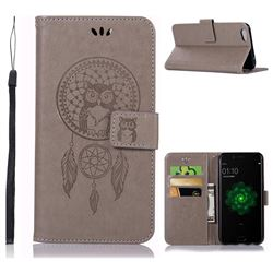 Intricate Embossing Owl Campanula Leather Wallet Case for Oppo R9s - Grey