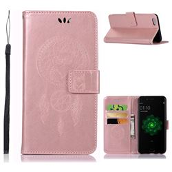Intricate Embossing Owl Campanula Leather Wallet Case for Oppo R9s - Rose Gold