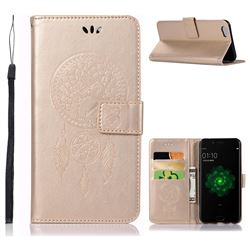 Intricate Embossing Owl Campanula Leather Wallet Case for Oppo R9s - Champagne