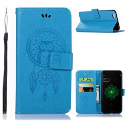 Intricate Embossing Owl Campanula Leather Wallet Case for Oppo R9s - Blue