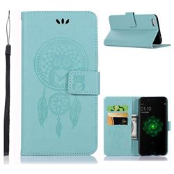 Intricate Embossing Owl Campanula Leather Wallet Case for Oppo R9s - Green