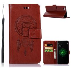 Intricate Embossing Owl Campanula Leather Wallet Case for Oppo R9s - Brown