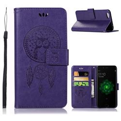 Intricate Embossing Owl Campanula Leather Wallet Case for Oppo R9s - Purple