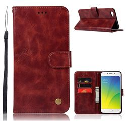 Luxury Retro Leather Wallet Case for Oppo R9s - Wine Red