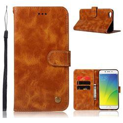 Luxury Retro Leather Wallet Case for Oppo R9s - Golden