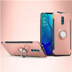 Armor Anti Drop Carbon PC + Silicon Invisible Ring Holder Phone Case for Oppo Reno - Rose Gold