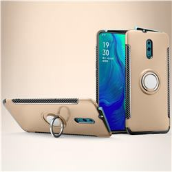 Armor Anti Drop Carbon PC + Silicon Invisible Ring Holder Phone Case for Oppo Reno - Champagne