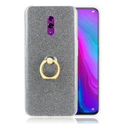 Luxury Soft TPU Glitter Back Ring Cover with 360 Rotate Finger Holder Buckle for Oppo Reno - Black