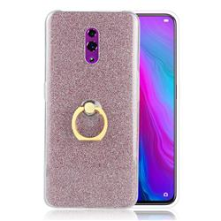 Luxury Soft TPU Glitter Back Ring Cover with 360 Rotate Finger Holder Buckle for Oppo Reno - Pink