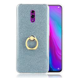 Luxury Soft TPU Glitter Back Ring Cover with 360 Rotate Finger Holder Buckle for Oppo Reno - Blue