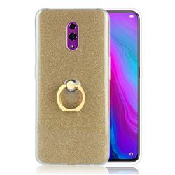 Luxury Soft TPU Glitter Back Ring Cover with 360 Rotate Finger Holder Buckle for Oppo Reno - Golden