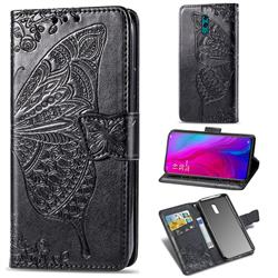 Embossing Mandala Flower Butterfly Leather Wallet Case for Oppo Reno - Black