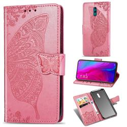 Embossing Mandala Flower Butterfly Leather Wallet Case for Oppo Reno - Pink