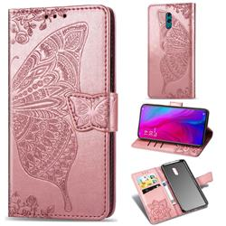 Embossing Mandala Flower Butterfly Leather Wallet Case for Oppo Reno - Rose Gold