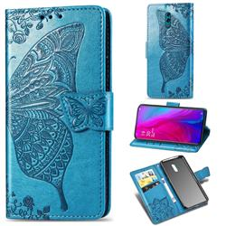Embossing Mandala Flower Butterfly Leather Wallet Case for Oppo Reno - Blue