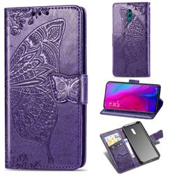 Embossing Mandala Flower Butterfly Leather Wallet Case for Oppo Reno - Dark Purple
