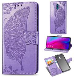 Embossing Mandala Flower Butterfly Leather Wallet Case for Oppo Reno - Light Purple