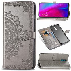 Embossing Imprint Mandala Flower Leather Wallet Case for Oppo Reno - Gray