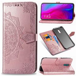 Embossing Imprint Mandala Flower Leather Wallet Case for Oppo Reno - Rose Gold