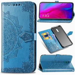 Embossing Imprint Mandala Flower Leather Wallet Case for Oppo Reno - Blue