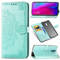 Embossing Imprint Mandala Flower Leather Wallet Case for Oppo Reno - Green