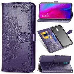 Embossing Imprint Mandala Flower Leather Wallet Case for Oppo Reno - Purple
