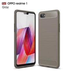 Luxury Carbon Fiber Brushed Wire Drawing Silicone TPU Back Cover for Oppo Realme 1 - Gray