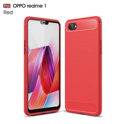 Luxury Carbon Fiber Brushed Wire Drawing Silicone TPU Back Cover for Oppo Realme 1 - Red