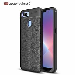 Luxury Auto Focus Litchi Texture Silicone TPU Back Cover for Oppo Realme 2 - Black